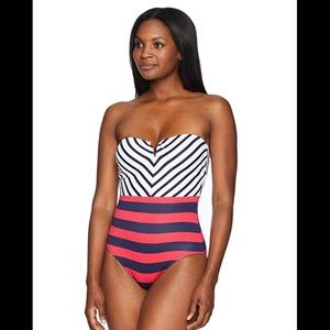 Tommy Bahama Bandeau One Piece Swimsuit, New
